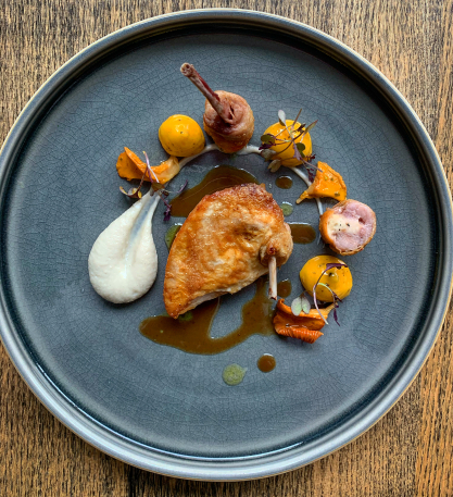 Roasted quail, globe artichokes, Scottish girolles