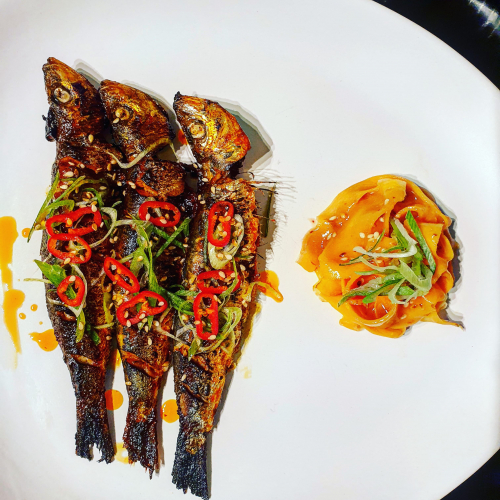 Gochujang marinated sardines- pickled carrots- plum, soy n ginger vinegarette.