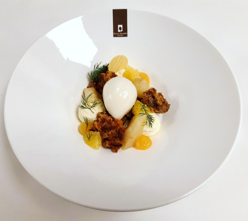 "Carrot cake, ""velvet cloud"" yogurt mousse, cardamom poached pears, orange syrup, lemon sorbet"