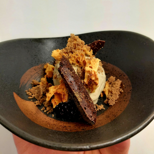 Wood mushroom parfait~truffle honeycomb~fermented blackberry~coffee~dark chocolate & pine bud