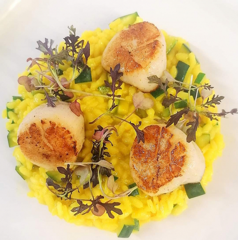 Scallops and Saffron risotto