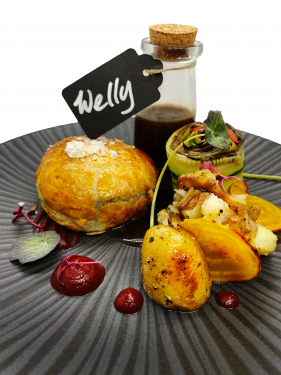 Vegan Beetroot Wellington Ratatouille, Crushe New Potatoes Vegan Red Wine Reduction
