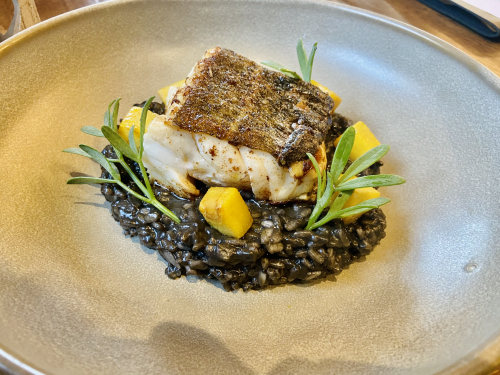 Pan fried cod loin , squid ink risotto, saffron poached celeriac, sea fennel