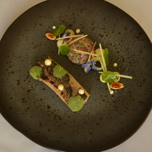 Brined/torched loin & belly tar tar of Mackerel, orchard apples, horseradish aioli, pickled cucumber, nasturtium and Borage