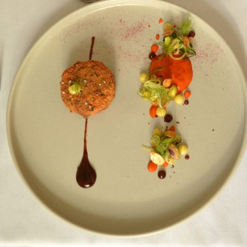 Lakeland Squirrel korokke, roasted red pepper puree, sesame, courgette strings, pistachio, pumpkin seed & fennel tops