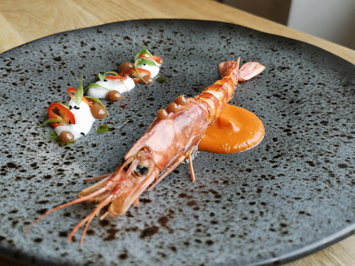 Thai red prawn curry, coconut mousse, lime gel, raw chilli and red curry sauce. Dish 3 of 8 of our tasting menu that's not likely to be seen this year 😭
