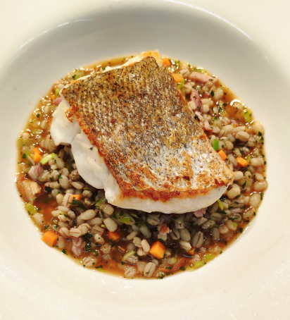 Peterhead Hake Fillet, Ramsay of Carluke Bacon and Barley Broth