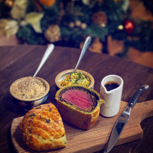 Wild Edinbane Venison Wellington for Two  With Foraged Skye mushroom duxelles, nutmeg Creamed Cabbage, Chestnut and Truffle pommes Purée and Venison Red Wine Jus