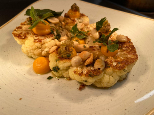 Cauliflower, sweet potato puree, salsa verde, roasted peanuts, mint oil.