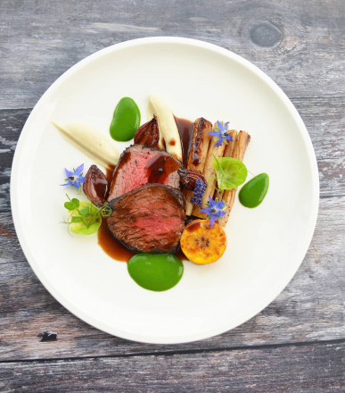 Beef Fillet Rubbed in Coffee and Juniper, Salsify, Roasted Squash, Watercress, Jus