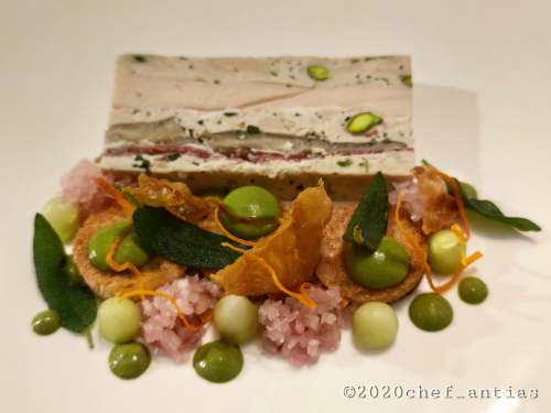 Corn-fed Chicken Terrine, pickled cucumbers and shallots, croutons, Tarragon Mayo, crispy sage and Chicken skin chips.
