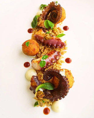 "Chargrilled Octopus, Black pepper crumble, ""Caciocavallo"" cream, Italian ""Takoyaki"", crispy capers, Octopus stock gel."