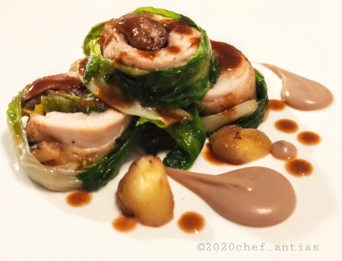 Chicken Ballotine, sauteed chestnuts and escarole, chestnut purėe, red wine jus.