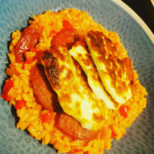 Pepper and chorizo risotto with grilled haloumi