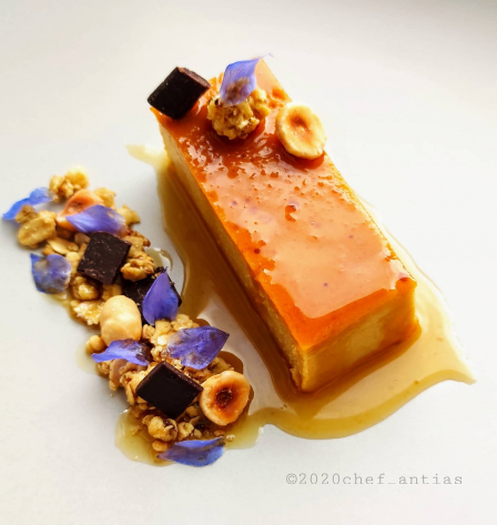 Persimmon Flan, Dark Chocolate and Hazelnut granola, Infused persimmon syrup.