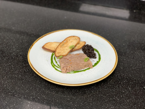 Christmas menu ! Duck terrine , fig relish ,chive oil , crisp bread