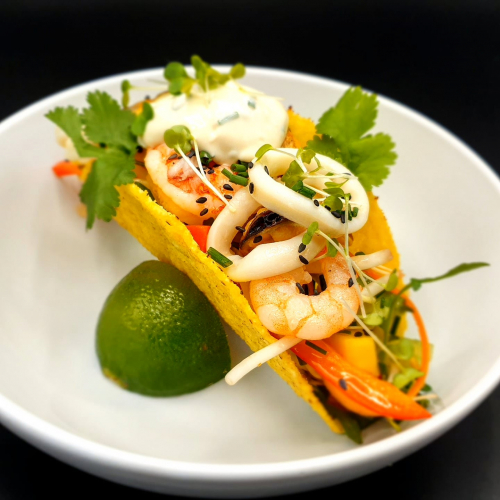 Street food at home  Tacos seafood salad , crab meat mayonnaise, prawns, calamari, mussels, beansprout, carrot,  cucumber, black sesame  Recipe you can find soon on my youtube channel!!! #tacos #prawns #calamari #crabmeat #streetfood #streetfoodathome #snack  @marek_jani_chef  #chef #chefplate #foodinspirations #foodtrend #foodrecipes #recipe   #foodporn #foodie #foodblog #easyrecipes #partyfood #thestaffcanteen