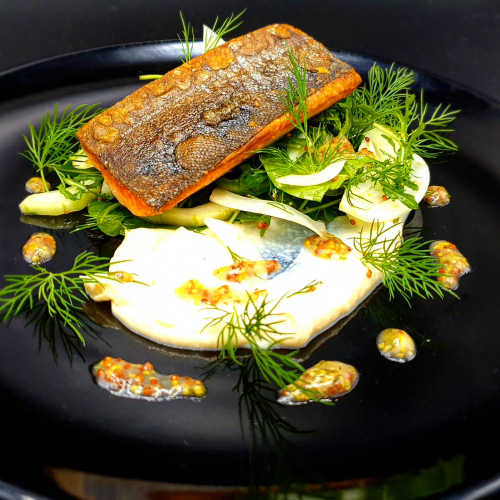 Salmon fillet, cauliflower puree, fennel and cucumber salad, miso dressing  Time for healthy dinner 😀!!! #salmon #fish #fennel #cucumber #cauliflower #miso #salad #chef #healthyfood  @marek_jani_chef #foodporn #cheftable #chefart #foodtrend #foodrecipes #recipe #zerowaste #omega3 #healthylifestyle #cookingathome #thestaffcanteen