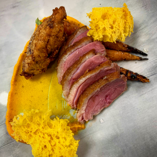 A dish I had hoped to serve this winter @kosttoronto maybe next winter. King Cole duck (seared breast, duck leg fritter) carrot and sea buckthorn