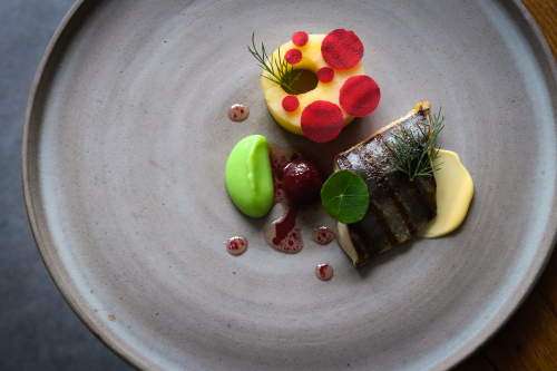 Ahh the wonders of Pampol. A local fish with similar qualities of the humble mackerel, a slightly lighter colour flesh but just as lovely and oily.  - Chargrilled and rare Pampol, apple cooked in apple juice and white balsamic, beetroot, and beetroot dressing, apple purée, iced raw beetroot discs, and kewpie…