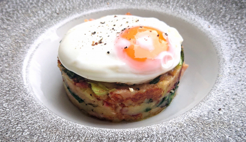 Bubble & Squeak Cake with Bacon & Dijon Mustard, Fried Egg.