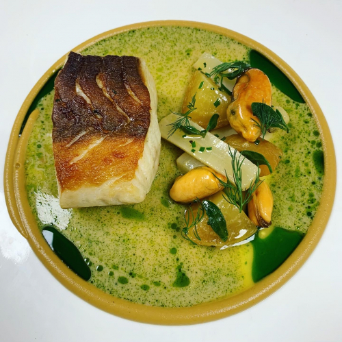 Devonshire Cod Loin, Smoked Mussels, Golden Beetroot, Salsify, Mussel Veloute, Sea Purslane, Dill