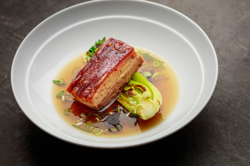 Asian style pork belly, soy and coriander broth, honey, sesame