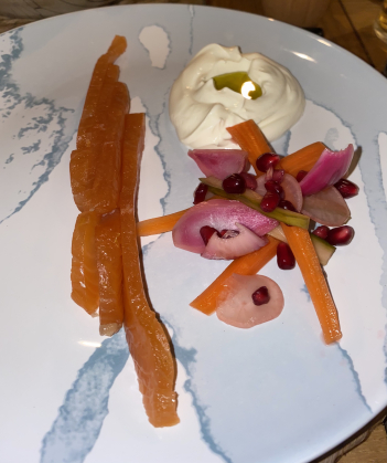 Gin & clementine salmon, pickled vegetables. Saw Adam Byatt do this and has to have a go