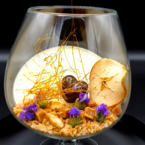 Green apple panna cotta, cinnamon chocolate, oats, almonds and salted caramel soil #pannacotta #chocolate #greenapple #saltedcaramel #almonds @marek_jani_chef #marekjani #desserts #foodporn #finefood #foodart #foodconcept #chef #chefplate #foodie #foodblog #recipes #artontheplate #thestaffcanteen #sweettreat