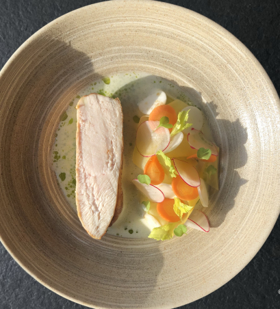 Goosnargh chicken • Fermented vegetables • Celery and whey sauce