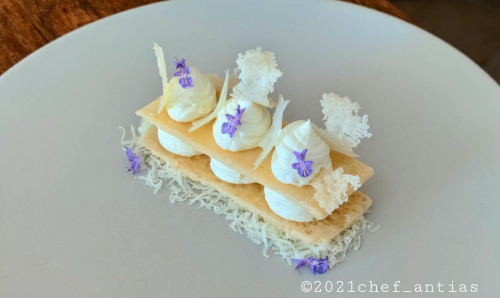 "Fake Mille-feuille of different textures of ""Caciocavallo di Agnone DOP""."