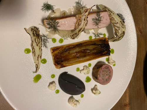 Guinea Fowl, Cauliflower, Fennel, Black Garlic Emulsion & Tarte Fine of Chicory