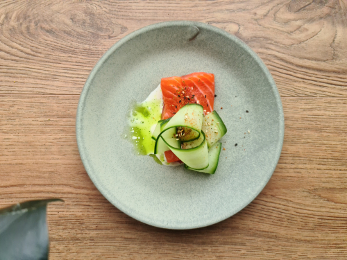 House Cured Sea Trout, Pickled Cucumber & Split Buttermilk & Dill Sauce.