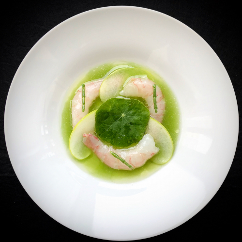 Marinated Shrimp / Cucumber Juice / Herb Vinaigrette / Ginger Oil / Salicornia / Granny Smith Apple/ Nasturtium