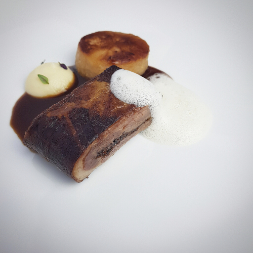 Pressed Jerk Lamb Belly, Celeriac & Preserved Lemon Puree, Celeriac confit in Lamb Fat, Coconut & Thyme Foam, Guinness Gravy