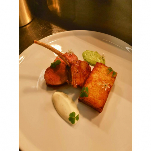 Loin of Lamb, Lamb rib, three cornered leek, smoked yoghurt and potato galette. Garnished with wood sorrel