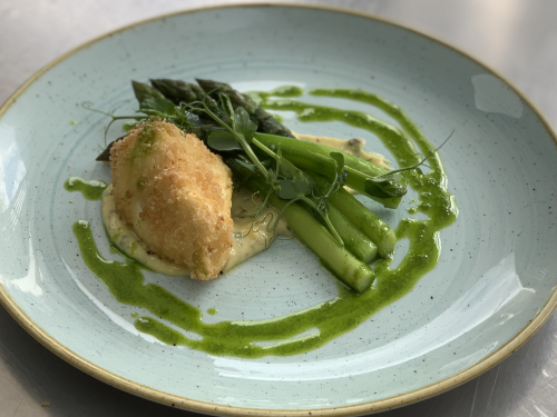 English asparagus , crispy hens egg, truffle hollandaise , chive oil