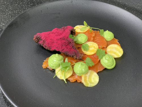 Elderflower and lemon cured chalk stream trout , loveage emulsion, pickled golden beetroot, crispy trout skin qauver
