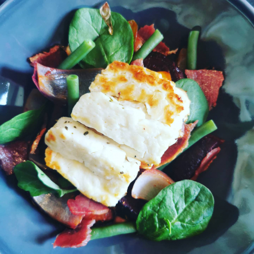 Grilled halloumi and roast salad