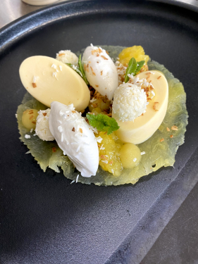 Compressed pineapple, coconut, rum, mint