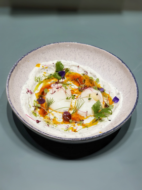 Çılbır  •Five herb Greek Yoghurt •Smoked Paprika Butter •Green Oil •63° Eggs •Micro-Herbs •Violas