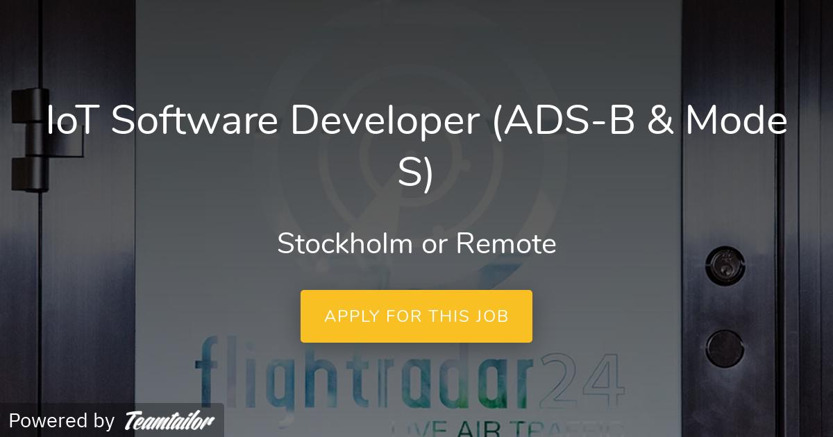 IoT Software Developer (ADS-B & Mode S) - Flightradar24