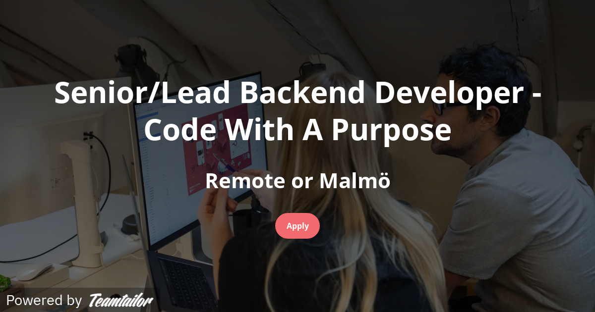 Lead Backend Developer/Architect - Code With A Purpose - Engaging Care