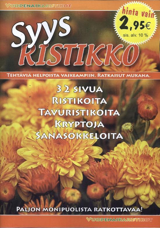 Vuodenaikaristikot -kirja Syysristikko 2017