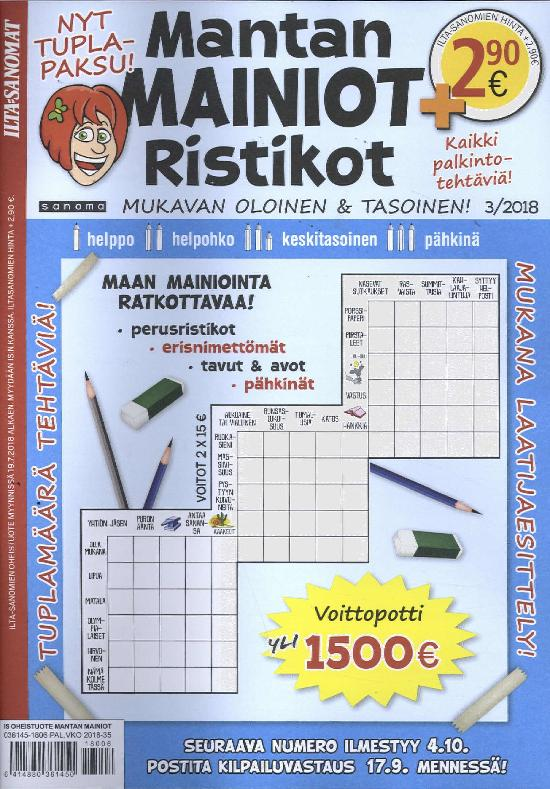 Ilta-Sanomat Oheistuote Mantan Mainiot Ristikot 3/2018