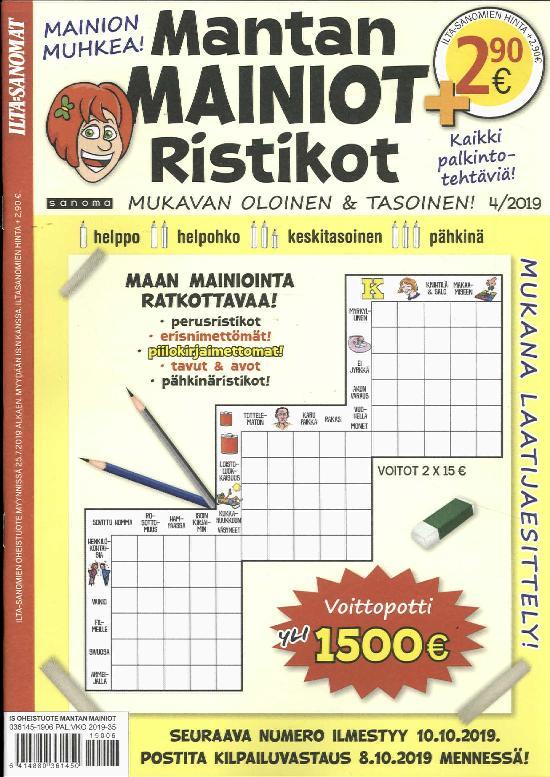Ilta-Sanomat Oheistuote Mantan Mainiot Ristikot 4/2019