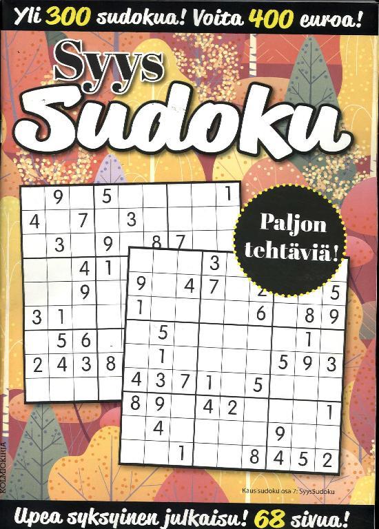 KausiSudoku Osa 7 2019 SyysSudoku Yli 300 sudokua!