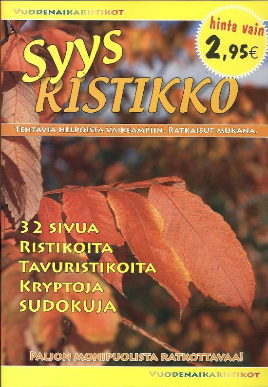 Vuodenaikaristikot -kirja SYYSRISTIKKO 3/2019