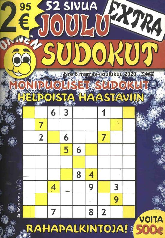 Onnen Sudokut Extra Nro 6 marras - joulukuu 2020 JOULU