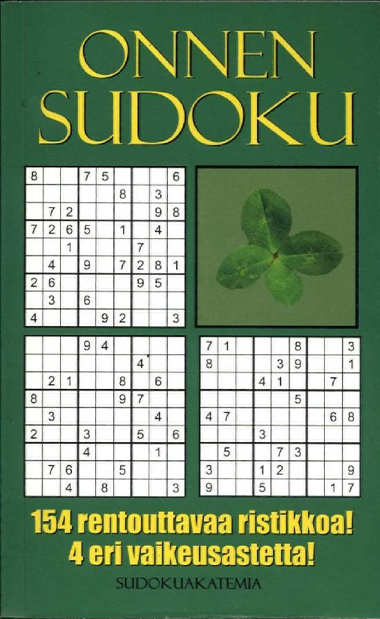 Sudoku Akatemia -pokkari OnnenSudoku 154 rentouttavaa ristikkoa! 4 eri vaikeusastetta!